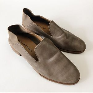 lucky brand | taupe / gray slip on loafers, 5.5
